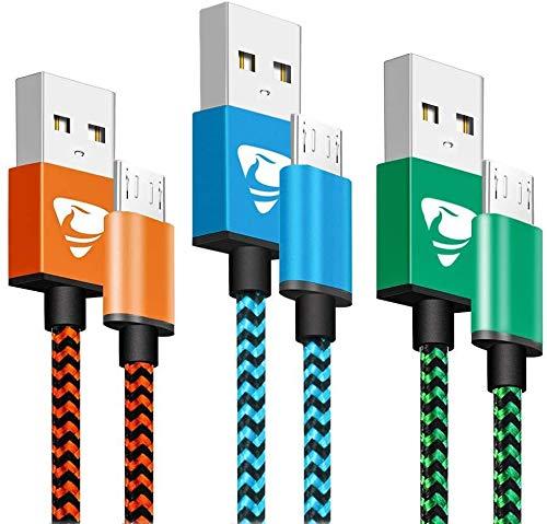Câble Micro USB [2m / Lot de 3] Câble Chargeur Android Nylon Tressé Chargeur Charge Rapide pour Samsung Galaxy S7 S6 S5 J7 J5 J6 J4 Note 5, Huawei, Sony, LG, Kindle, PS4 Manette, Tablettes