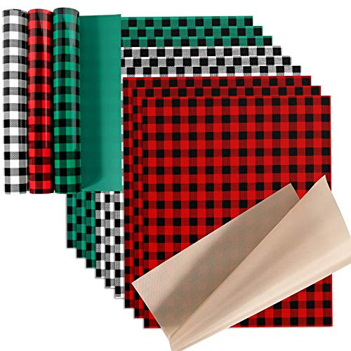 "Christmas Buffalo Plaid HTV Heat Transfer Vinyl Bundle: 13 Pack 12"" x 10"" Buffalo Plaid Vinyl for Clothes, PU Iron on Vinyl for Cricut(Red and Black, Green and Black, Black and White)"