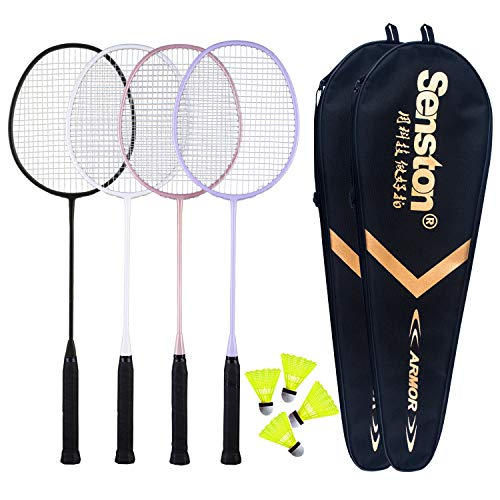 Senston Badminton Rackets 4 Pack, Badminton Set Including 2 Badminton Bag/4 Rackets/4 Nylon Badminton Black White Pink Purple