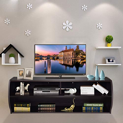 Tangkula Wall Mounted TV Stand, 2 Tier Modern Wall Mount TV Storage Console, for Home Office Living Room Furniture, Wall Mount TV Stand, Hanging TV Stand Cabinet