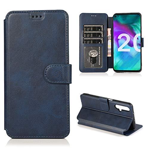 ETbotu Handyhülle – Bumper-Hülle, kompatibel mit Huawei Honor 20 Handyhülle PU + TPU Innenhülle mit Kartenschlitz Handyhalterung blau
