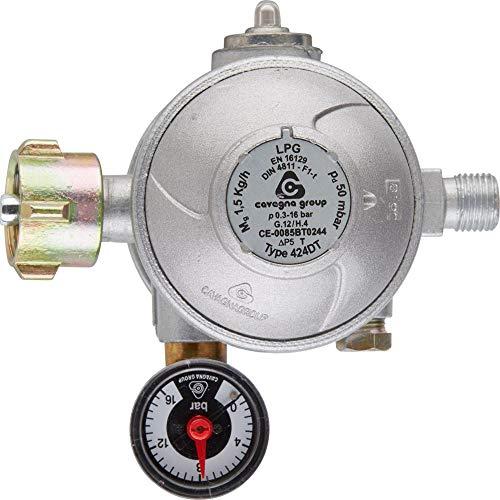 Cavagna Gas-Druckminderer 50 mbar für Innenbereich, Doppelmembran, Thermische Absperreinrichtung und Manometer