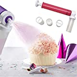 WARTT Manual Airbrush for Cake DIY Baking, New Manual Cake Spray Gun Spray Tube with 4 Pcs Vial, Decorating Cakes, Cupcakes and Desserts,Cake Icing Coloring Tool, Kitchen Supplies Tool