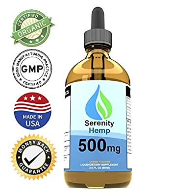 Serenity Hemp Oil for Pain & Anxiety - Relief for Stress, Inflammation, Sleep, Anxiety, Depression, Nausea & More - Rich in Vitamin E, Vitamin B, Omega 3,6,9 - Hemp Extract (2oz 500mg Orange) by Serenity