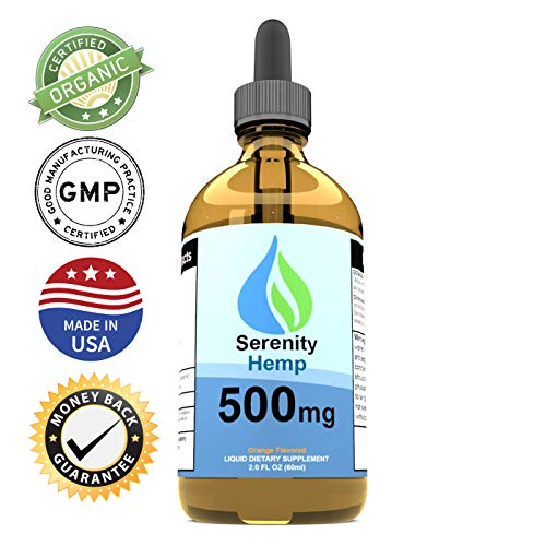 Serenity Hemp Oil for Pain & Anxiety - Relief for Stress, Inflammation, Sleep, Anxiety, Depression, Nausea & More - Rich in Vitamin E, Vitamin B, Omega 3,6,9 - Hemp Extract (2oz 500mg Orange)