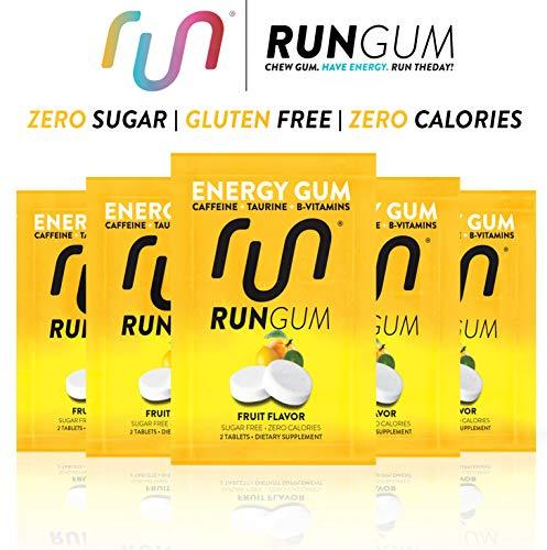 RUN GUM Fruit Energy Gum 50mg Caffeine Taurine & B-Vitamins Per Piece, 24 Pieces (Pack of 12), 2 Pieces = 1 coffee or Energy drink, Sugar Free, Zero Calorie