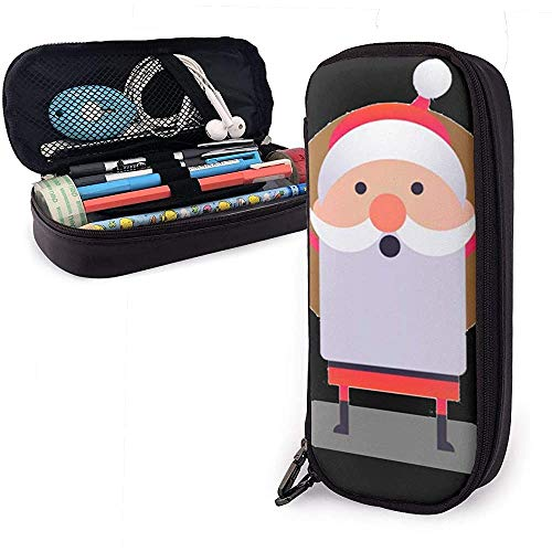 Santa Claus Cheering PU lederen tas opbergtas draagbare student pennenzak multifunctionele tas