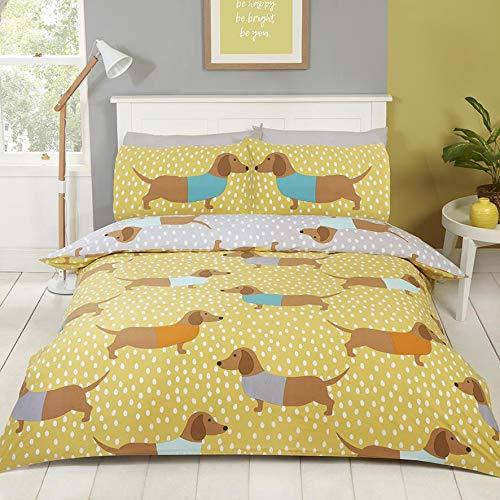 Rapport Dolly Dachshund Reversible Duvet Cover Bed Set, Ochre, Double