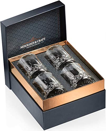 Whiskey Glasses Gift Set of 4 Rocks Glasses // 10oz Crystal Old Fashioned Whiskey Glasses with a Classy Gift Box // Perfect for Scotch, Bourbon, Cognac and Lowball Glass Cocktails // Best Whisky Gift