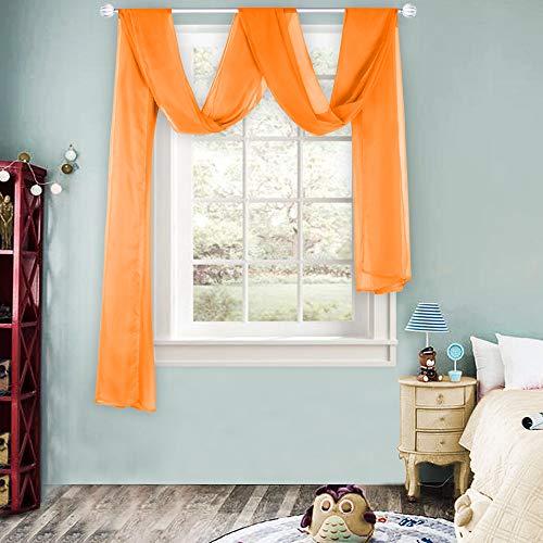 Orange Sheer Window Scarf Valance f…
