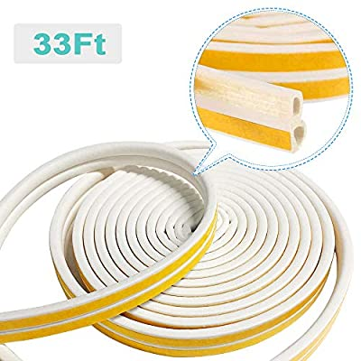 XEUYUTR Seal Weather Stripping for Doors/Windows, Insulation Weatherproof Doors and Windows Soundproofing Seal Strip, Collision Avoidance Rubber Self-Adhesive Weatherstrip, 1 Pack(33 Feet Long, White)