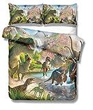 GD-SJK Juego de Funda nórdica, edredón de Jurassic World Mundo Jurásico Dinosaurio T-Rex,Microfibra Fundas nordicas Infantiles, Ropa de Cama,Colcha de niño (TM2, 140x210cm)