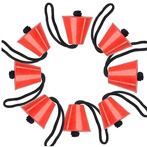 Berrywho Enchufes De Kayak Agujeros De Agua De Drenaje Tapón De Goma De Silicona Con Cordón Grande Kayak Kayak Scupper Kit De Enchufe Conjunto De 8pcs Rojo