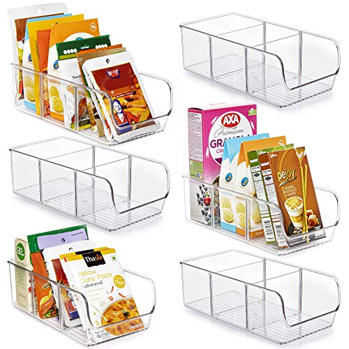 Vtopmart Food Packet Organizer Bins for Pantry Organization and Storage, 6 Pack Clear Plastic Holder for Organizing Seasoning Packets, Spice Packets, Pouches, Snacks in Kitchen or Cabinets