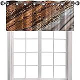 YUAZHOQI Cortina oscurecedora de habitación con viga de madera viejas afectadas por la madera de gusano de madera, 132 cm de ancho x 45 cm de largo, cenefa opaca para ventana de cocina (1 panel)