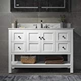 Woodbridge Sydney-4821-White 48'x21' Solid Wood Vanities with Carra White Marble Top with Rectangle Bowl, Color. Sydney-4820