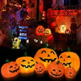 TechKen Halloween 8FT Long Inflatable Pumpkins with Build-in LEDs Blow Up Inflatables for Halloween Party Outdoor, Yard Decorations, Garden, Lawn Halloween Decors