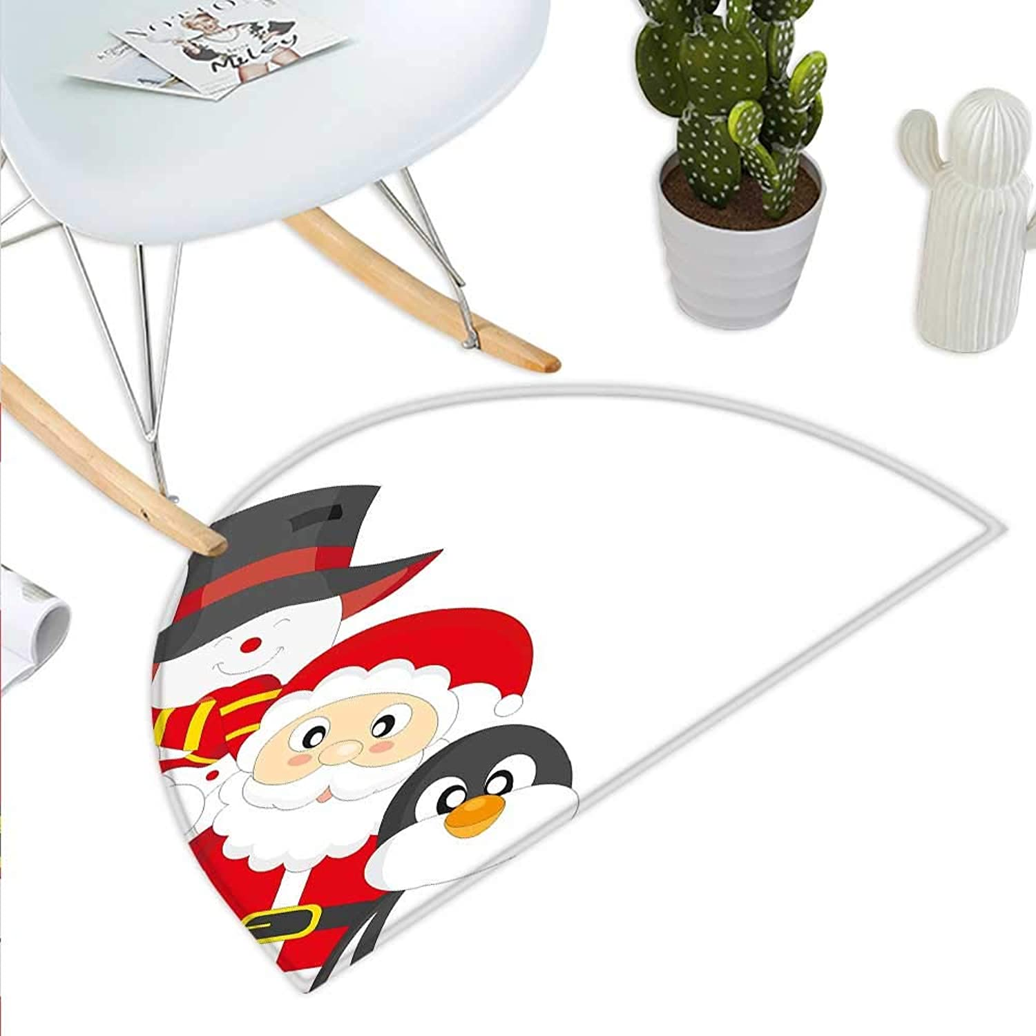 Christmas Semicircle Doormat Friendly Happy Santa Claus Penguin Snowman Festive Holiday Design Halfmoon doormats H 35.4  xD 53.1  Charcoal Grey Red White