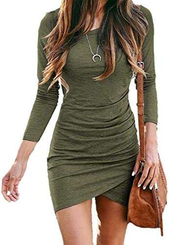 BTFBM Women Fashion Ruched Elegant Bodycon Long Sleeve Wrap Front Solid Color Casual Basic Fitted product image