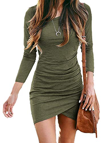 BTFBM Women Fashion Ruched Elegant Bodycon Long Sleeve Wrap Front Solid Color Casual Basic Fitted Short Dress (Army Green, Medium)