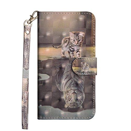 Sunrive Hülle Für ZTE Blade V6/D6/X7/L6, Magnetisch Schaltfläche Ledertasche Schutzhülle Hülle Handyhülle Schalen Handy Tasche Lederhülle(Tiger & Katze)+Gratis Universal Eingabestift
