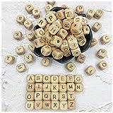 Abecedario de madera, cuentas de mordedor de 26 letras, cubo de bricolaje, 12 mm, 104 piezas, cuentas de dentición sueltas para bebés