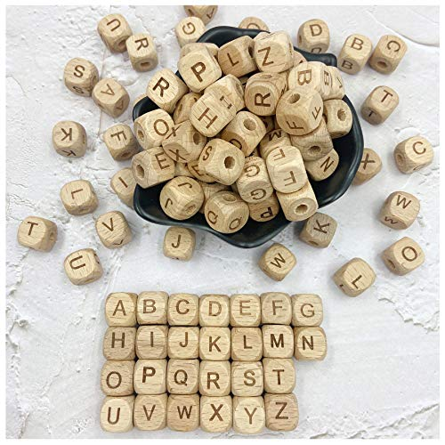 Abecedario de madera, cuentas de mordedor de 26 letras, cubo de bricolaje, 12 mm, 104 piezas, cuentas de dentición sueltas...