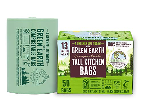 Green Earth Compostable Biodegradable Tall Kitchen Trash Bags,Food Waste Bags, 13 Gallon, 49.2 Liter, 50-Count, Superior Strength 1 Mil Thickness,US BPI ASTM D6400 and Europe OK Compost Home Certified