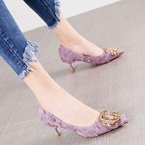 HRCxue zapatos de la Corte Moda Puntiagudos zapatos de tacón Elegante Temperamento Rhinestone Metal Hebilla Estilete púrpura zapatos, 37, púrpuraa