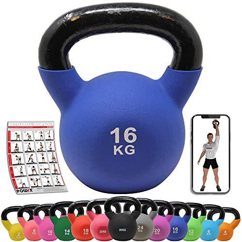 POWRX Kettlebell Neopren 2-26 kg inkl. Workout I Kugelhantel in versch. Farben und Gewichten I Bodenschonende Schwunghantel (16 kg (Dunkelblau))
