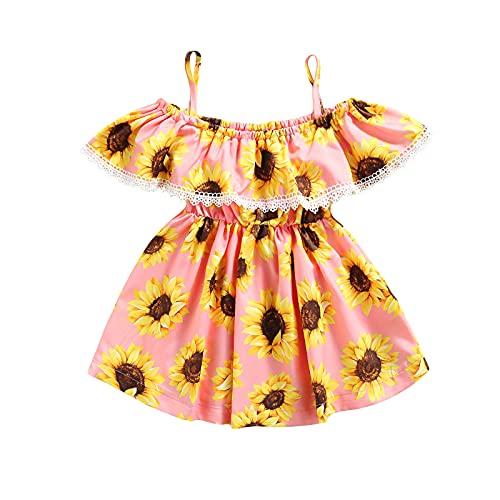 Vestido halter para niña pequeña, bohemio, floral, volantes, girasol, una línea de princesa, falda de verano, rosa,...