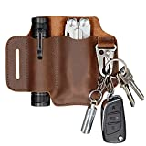 XXL EDC Leather Sheath, Leather Knife Belt Sheath Organizer, Tool Pouch Sheath for Most Leatherman Multitools, Key Ring Holder Fob, Holster for 5 inch Knives, Fit Most Tactical Flashlights. Chestnut.