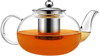 CHuangQi 1000ml / 34oz Glass Teapot with Removable Loose Tea Infuser, Stovetop Safe Teapot, Blooming and Loose Leaf Tea Ma...