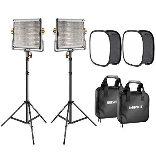Neewer 2-Pack 480 LED Video Light Lighting Kit: Dimmable Bi-Color LED Panel(3200-5600K, CRI 96+), 75-Inch Light Stand and Softbox Diffuser for Photo Studio Product Portrait, YouTube Video Photography