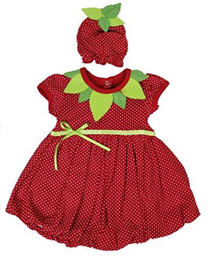 aprom Baby Kleid Erdbeer Kostüm mit Mütze (56)