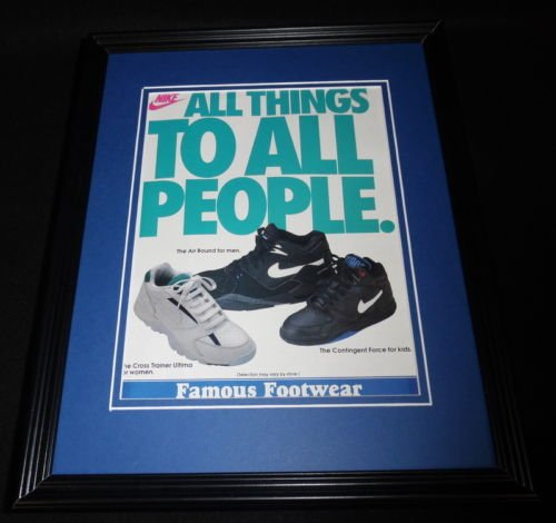 1992 Nike / Famous Footwear 11x14 Framed ORIGINAL Vintage Advertisement