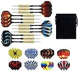 BSET BUY - Set di 12 freccette in acciaio, 20 g, con punta in metallo, freccette, fusto in alluminio (multicolore)