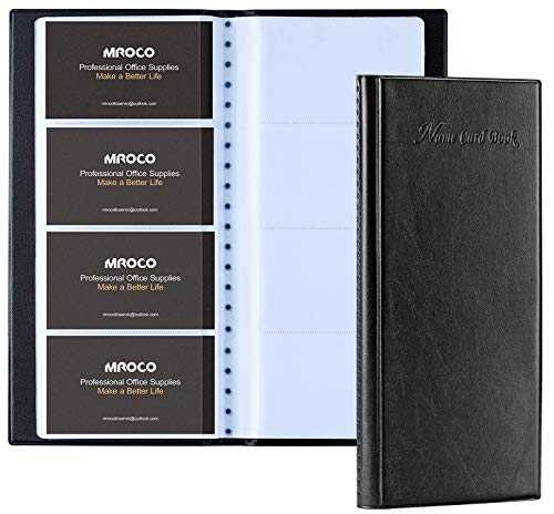 MROCO Business Card Organizer Book Business Card Holder Book, Pu Leather Business Credit Card Holder Book for Men, Name Card Holder Book Slim Wallet Card Holder for Men, Capacity: 400 Cards, Black