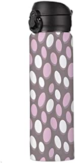 Geometric Stainless Steel Insulation Travel Mug,Retro Oval Pattern Circles Abstract Pale Vintage Elliptical Design Thermos,9