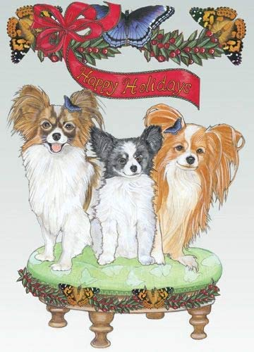 Animal Theme Gifts Papillon Christmas 10 of 1 Cards Direct store Set outlet