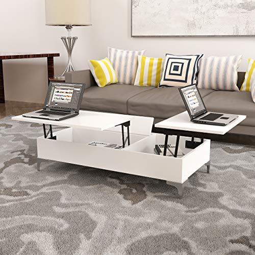 Homemania Tavolino da caffè, Truciolare Melaminico, Metallo, Bianco, 121 x 60 x 30 cm
