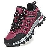 VTASQ Zapatillas de Senderismo Hombre Zapatillas Trekking Antideslizantes Transpirable Botas Montaña Bajas Zapatillas de Camping Rojo 41