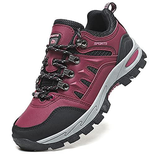 VTASQ Calzature da Escursionismo Scarpe da Arrampicata Trekking Uomo Scarpe Scarponi da Montagna Sportive Stivali da Escursionismo Outdoor Scarpe Rosso 38