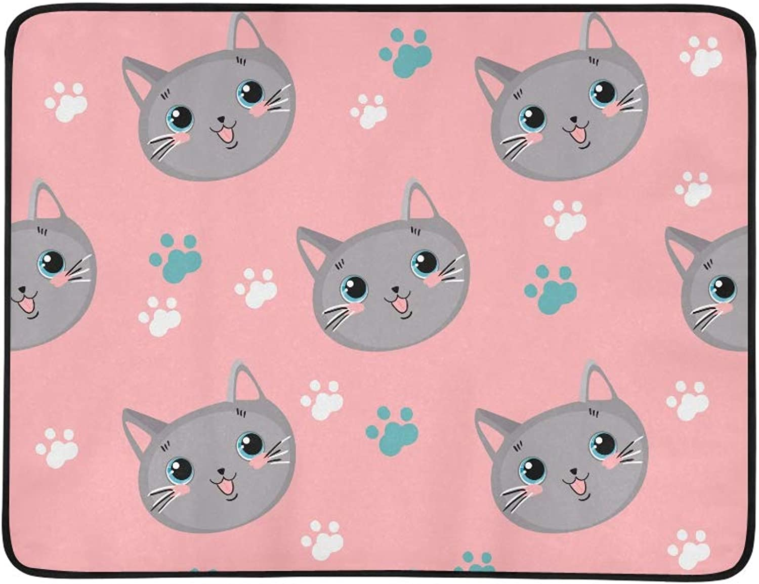 Cute Cats Paws Footprints Pink Pattern Pattern Portable and Foldable Blanket Mat 60x78 Inch Handy Mat for Camping Picnic Beach Indoor Outdoor Travel