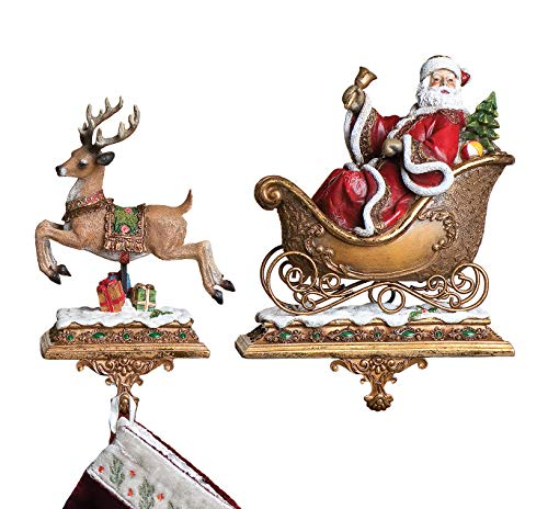 Set of 2 Santa with a Reindeer Stocking Holder