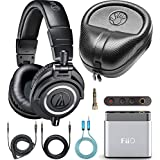 Audio-Technica ATH-M50x Closed Back Headphones for Studio Mixing and Personal Listening Bundle with A1 Portable Headphone Amp, Blucoil 6' 3.5mm Extension Cable, and Full-Sized Headphone Case