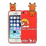 LAXIN Coque pour iPhone 5/5S (10,2 cm) en silicone 3D motif Père Noël de dessin animé pour...