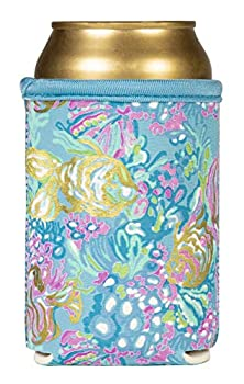 Lilly Pulitzer Blue Insulated Neoprene Drink Hugger for Cans and Bottles Aqua La Vista