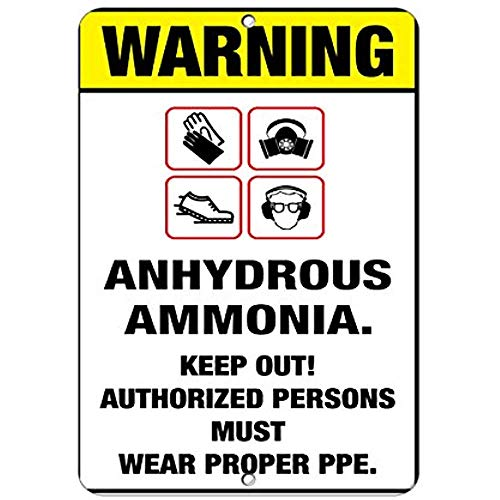 Warning Boots Gloves Goggles Respirator Anhydrous Ammonia Aluminum Metal Sign