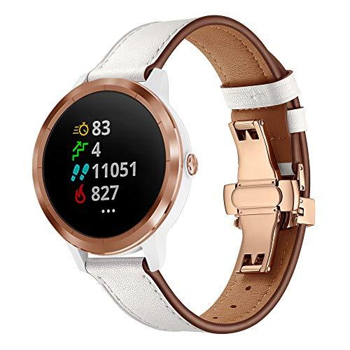 XZZTX Compatible avec Les Montres Garmin Vivomove HR, 20 mm. Bracelet de Remplacement en Cuir pour Montre Vivoactive 3 / Vivomove HR/Galaxy 42 mm,RoseGoldBuckle